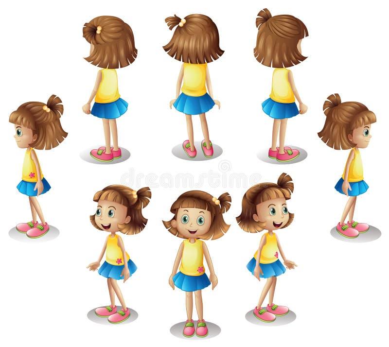 Uma menina que forma um círculo ilustração do vetor