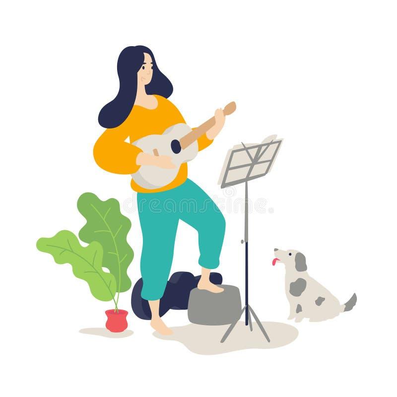 Ilustração de uma menina que joga uma guitarra acústica Vetor Estilo liso dos desenhos animados Lições de música O cão escuta o j ilustração royalty free