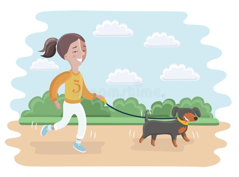 Ilustração de uma menina que toma seu cão para uma caminhada ilustração do vetor