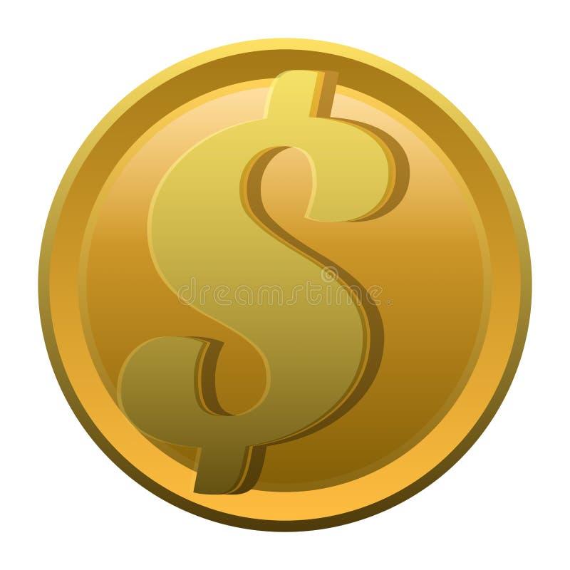ilustração de uma moeda dourada de vista realística com símbolo do dólar ou do sinal isolado em um fundo branco ilustração do vetor