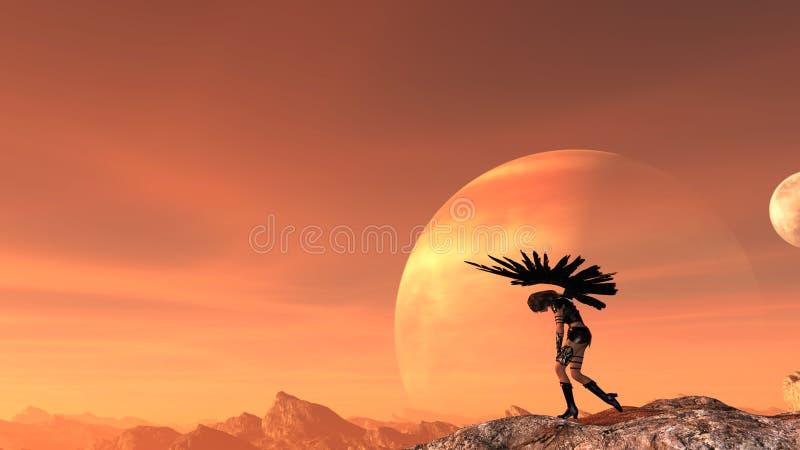 A ilustração de uma mulher com as asas estendidos que guardam facas caiu sobre no desespero com uma lua e um planeta e um céu ver ilustração do vetor