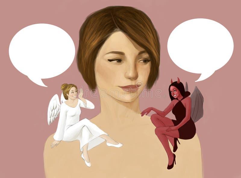 Ilustração de uma mulher com um diabo e um anjo que têm a conversação em seu ombro ilustração do vetor