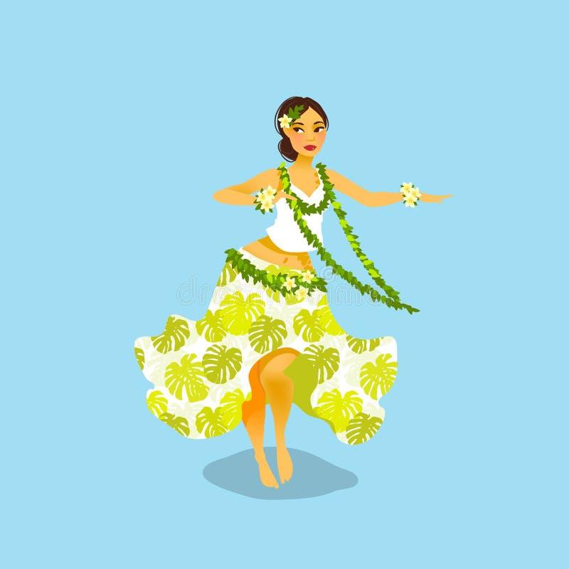 Ilustração de uma mulher havaiana do dançarino do hula ilustração stock