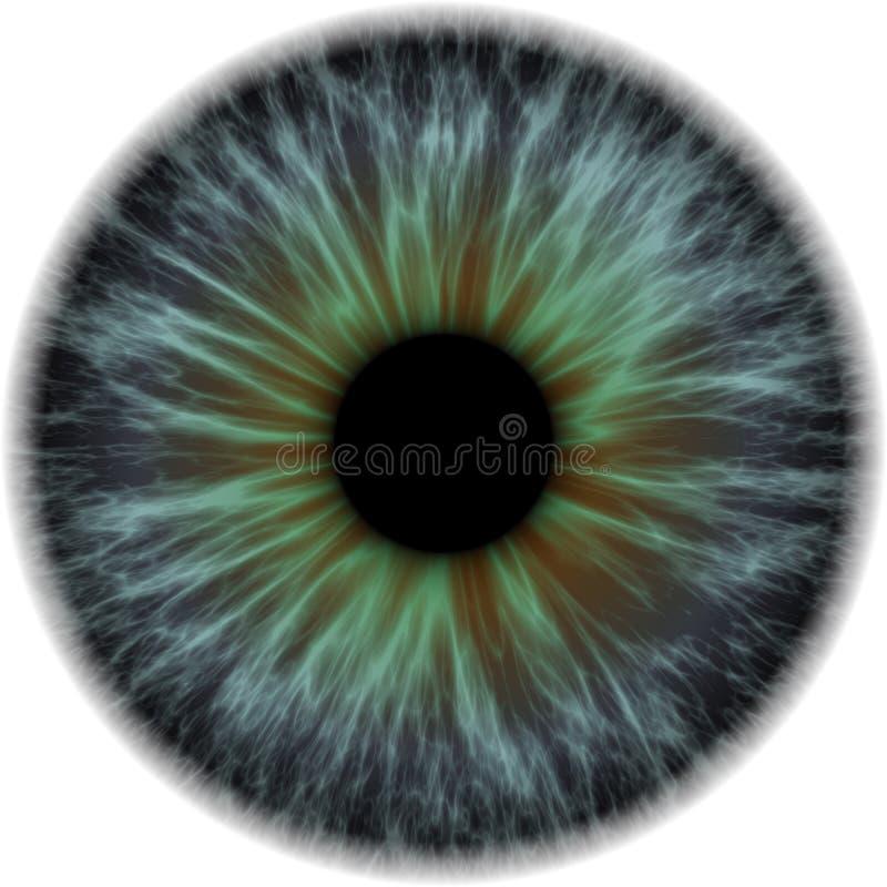 Ilustração de uma obscuridade - azul com a íris humana alaranjada ilustração royalty free