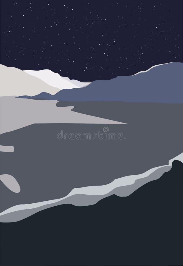 Ilustração de uma paisagem cósmica, imagem do vetor das montanhas ilustração stock