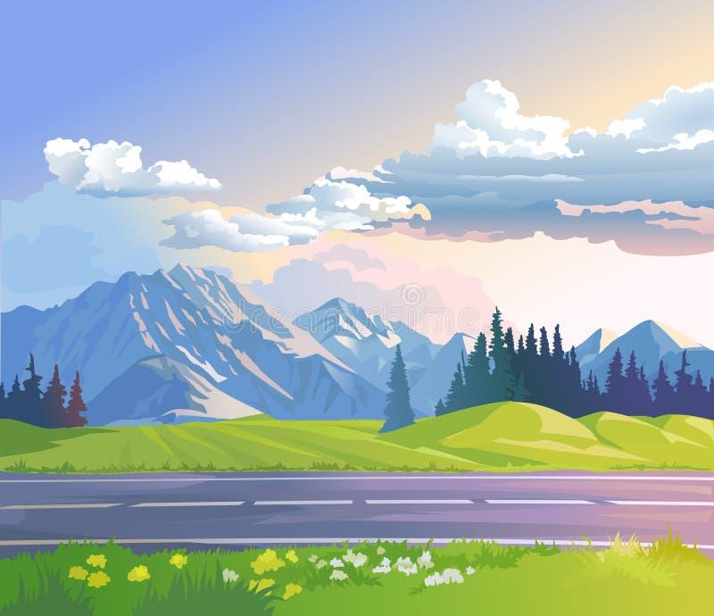 Ilustração de uma paisagem da montanha ilustração stock