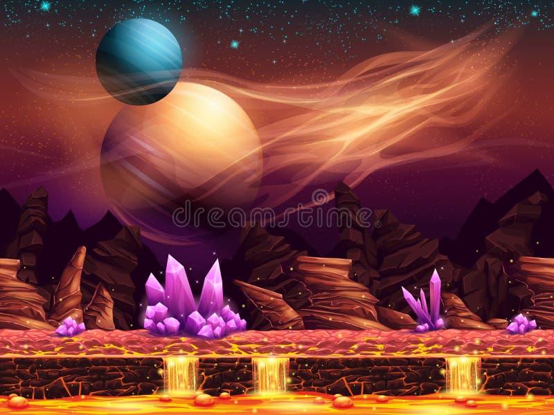 Ilustração de uma paisagem fantástica - o planeta vermelho ilustração royalty free