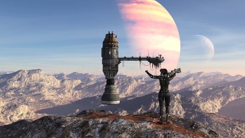 Ilustração de uma posição futurista do soldado fêmea em uma sinalização do cume para uma nave espacial com uma figura que acena c ilustração stock