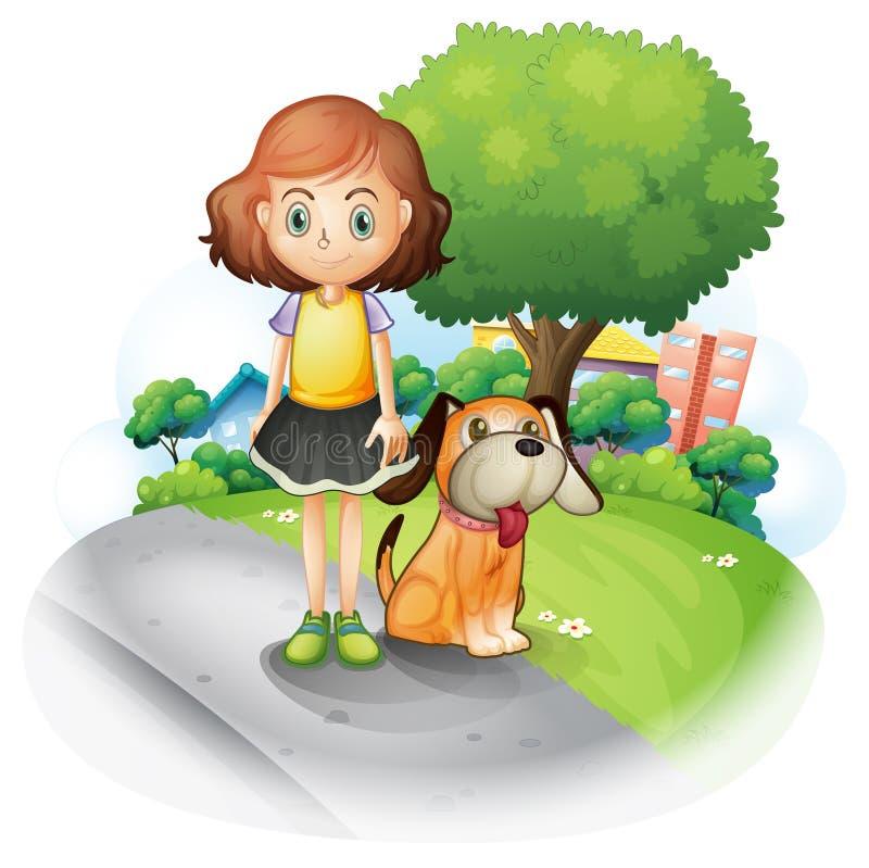 Uma rapariga com um cão ao longo da rua ilustração royalty free