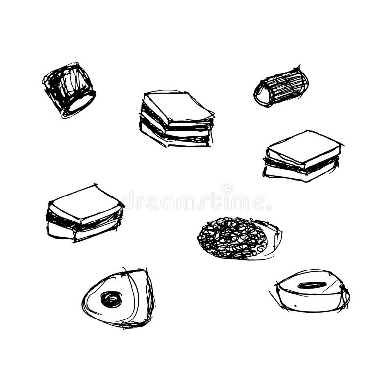 Ilustração de uma seleção do doce ilustração royalty free
