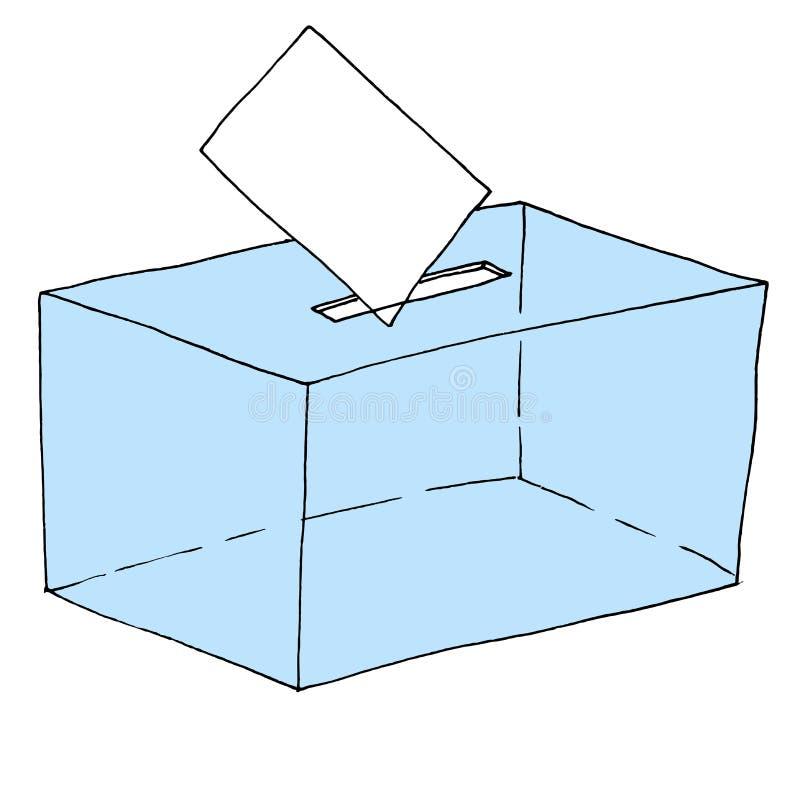 Ilustração de uma urna de voto eleitoral em que um voto está sendo depositado ilustração royalty free