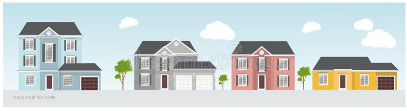Ilustração de umas casas modernas e tradicionais, projeto de projeto da casa, conceito dos bens imobiliários para vendas fotografia de stock