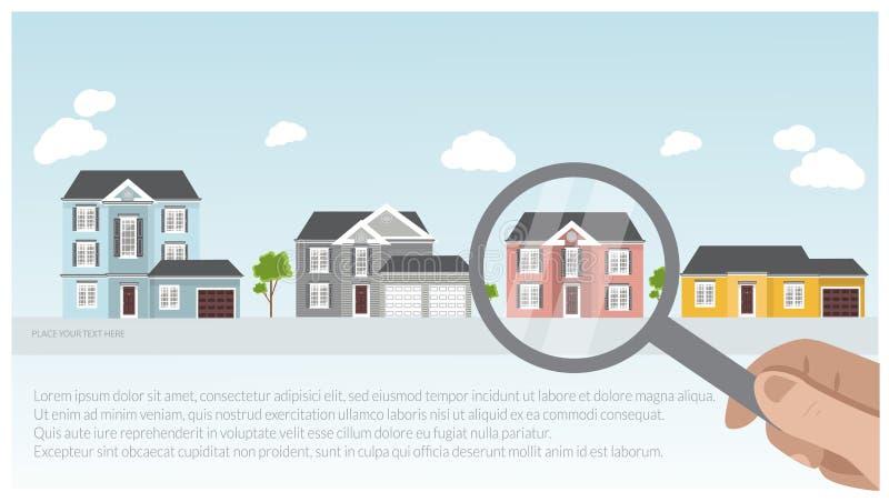 Ilustração de umas casas modernas e tradicionais, projeto de projeto da casa, conceito dos bens imobiliários para vendas imagens de stock