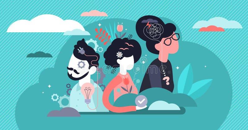 Ilustração de vetor de comportamento Expressão de pequenos sentimentos flagrante conceito de pessoas ilustração royalty free