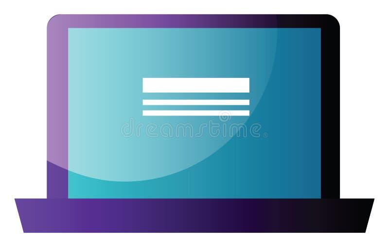 Ilustração de vetor de monitor de desktop roxo em um ilustração royalty free