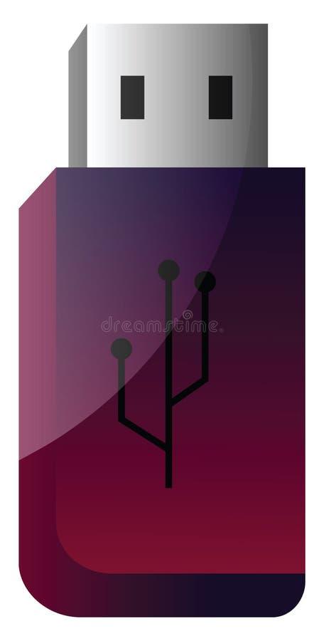 Ilustração de vetor simples de unidade flash USB roxa e rosa profunda em uma ilustração stock