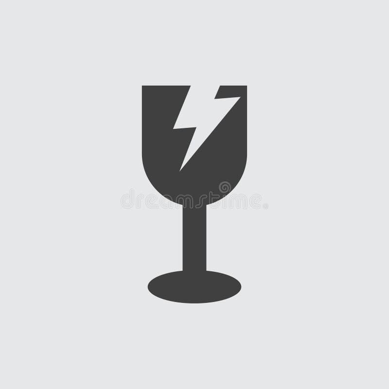 Ilustração de vidro quebrada do ícone ilustração do vetor