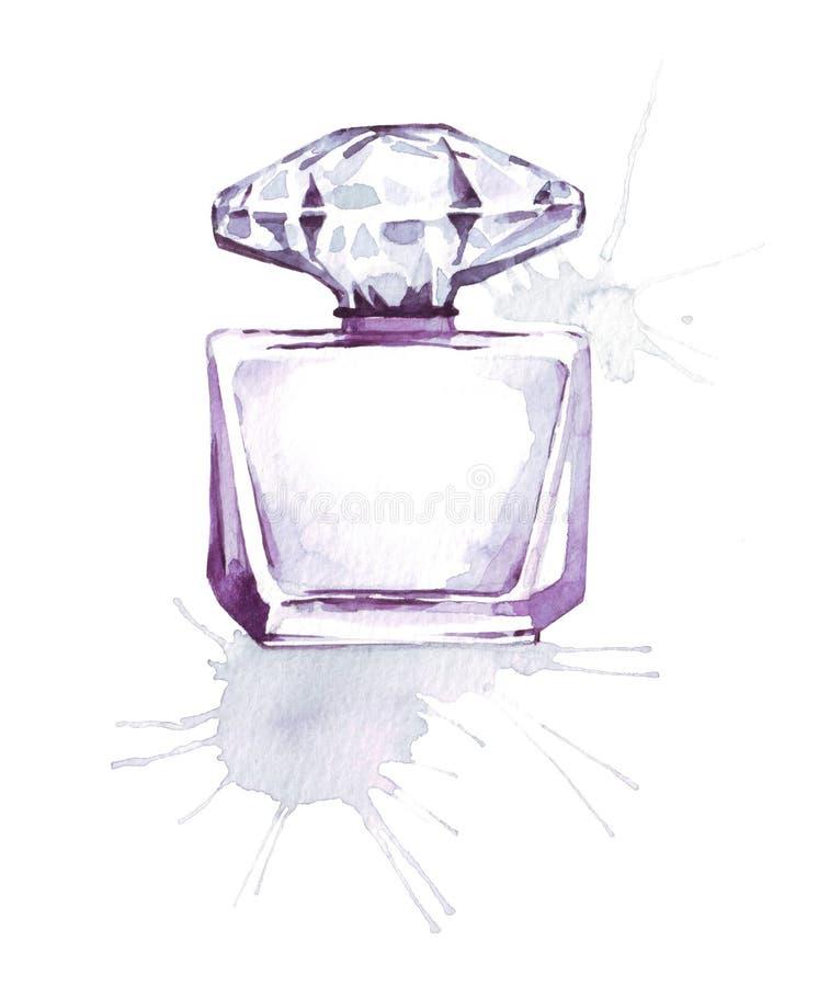 Ilustração de vidro violeta da aquarela da fragrância da garrafa de perfume, esboço da forma, cópia da arte ilustração royalty free