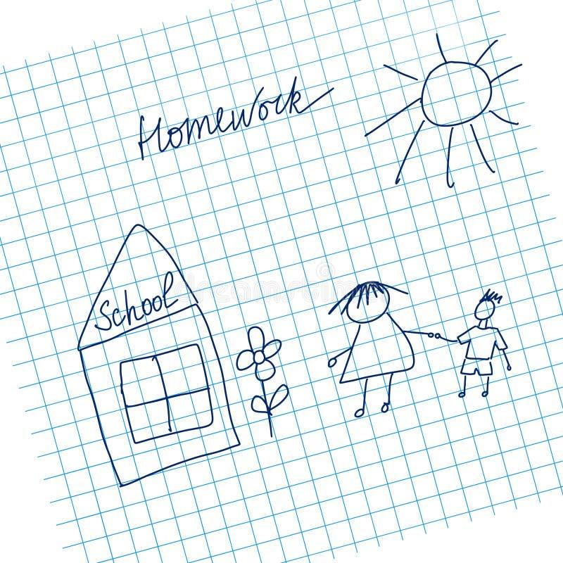 Ilustração de volta à escola no papel na pilha ilustração do vetor