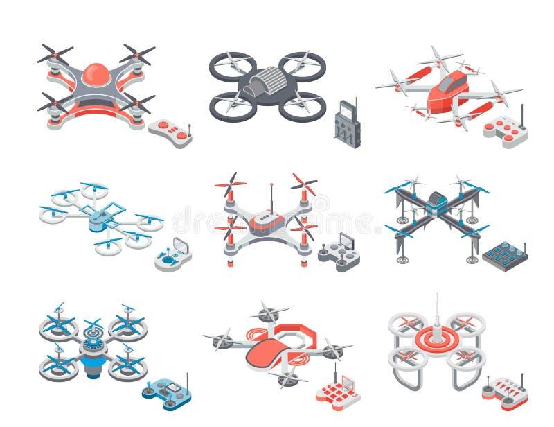 Ilustração de voo do vetor do grupo dos ícones dos artigos do zangão ilustração royalty free