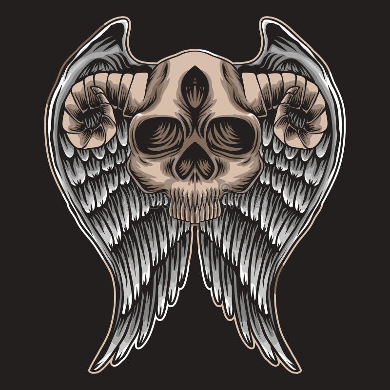 Ilustração de Wing Vetora do chifre do crânio ilustração do vetor