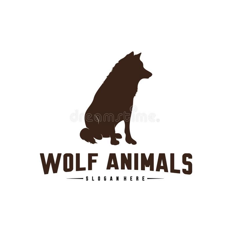 Ilustração de Wolf Abstract Logo Design Vetora Wolf Logo Template Estilo liso simples S?mbolo do ?cone ilustração stock