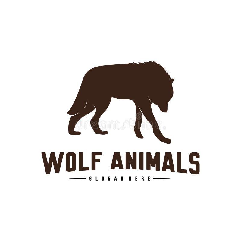 Ilustração de Wolf Abstract Logo Design Vetora Wolf Logo Template Estilo liso simples S?mbolo do ?cone ilustração royalty free