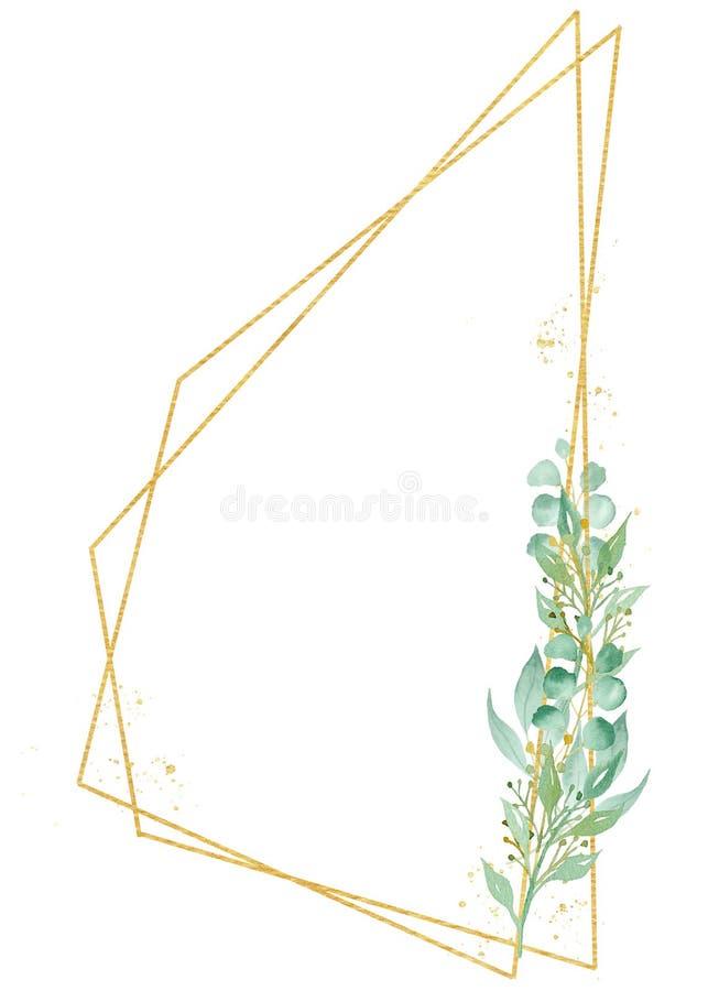Ilustração decorativa botânica da quadriculação da aquarela do quadro de Minimalistic foto de stock