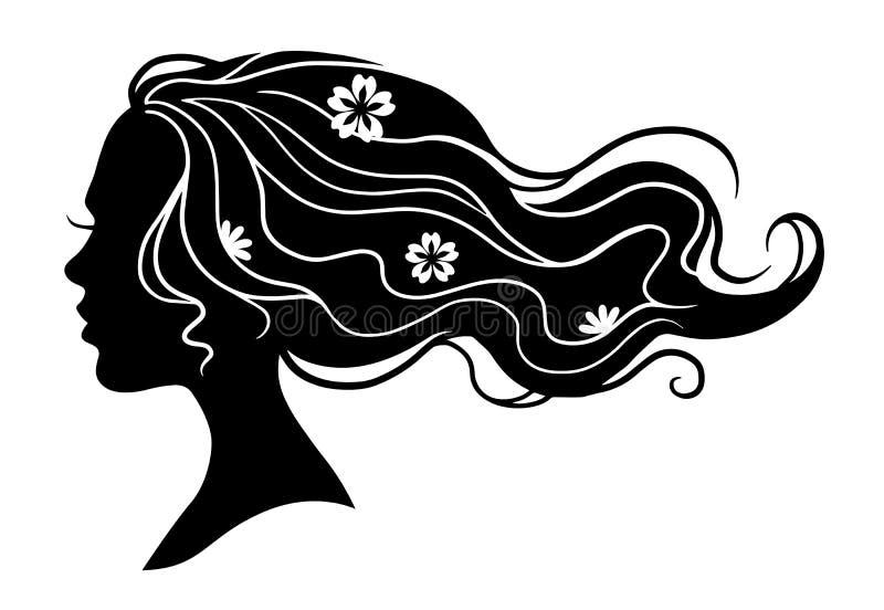 Ilustração decorativa da beleza preta da forma do vetor da menina com ilustração stock