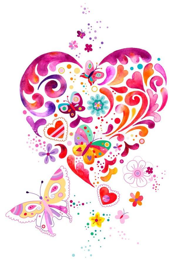 Ilustração decorativa do coração com borboletas ilustração do vetor