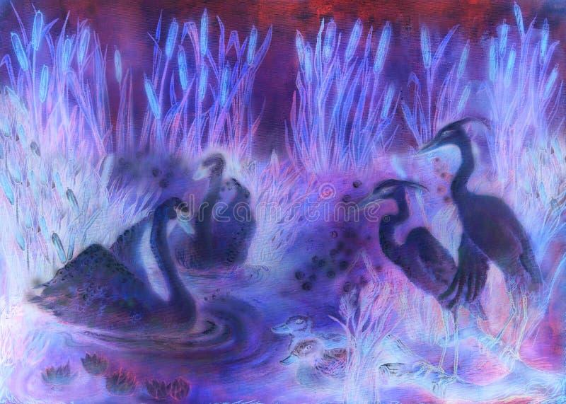 Ilustração decorativa em tons da violeta e do lila dos pássaros que nadam na lagoa com juncos ilustração royalty free