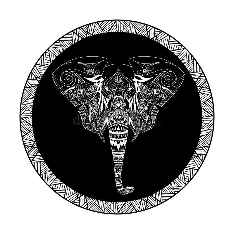 Ilustração decorativa gráfica do vetor do elefante étnico ilustração royalty free