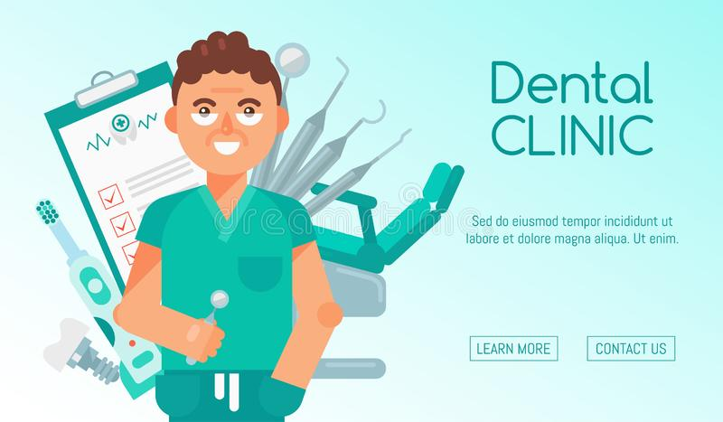 Ilustração dental do vetor da bandeira da clínica Design web dos cuidados dentários Ajuste das ferramentas e do equipamento denta ilustração do vetor