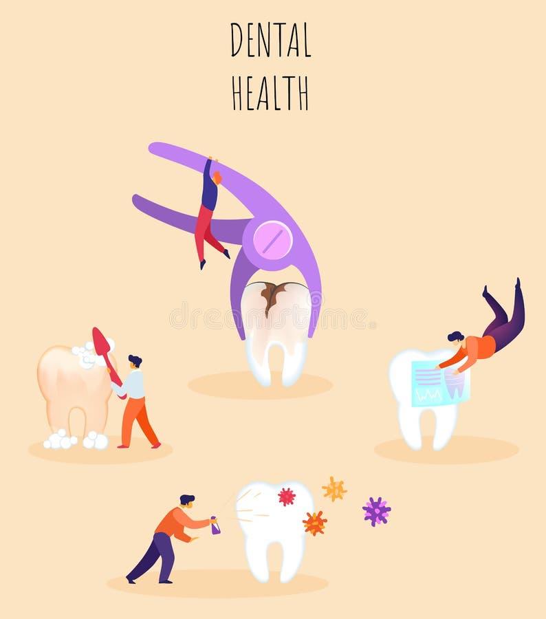 Ilustração dental do vetor da saúde, rotulando ilustração stock