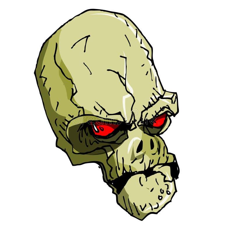 Ilustração desenhada mão do skulll dos desenhos animados ilustração royalty free