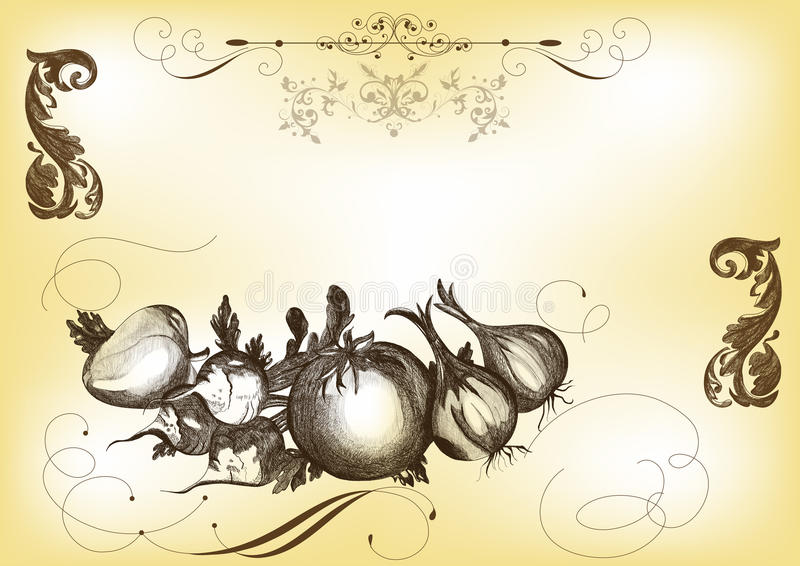 Ilustração desenhada mão do vetor com vegetais ilustração stock