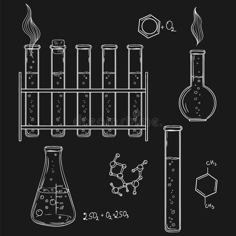 Ilustração desenhada mão do vetor Sketc dos ícones do laboratório de química ilustração royalty free