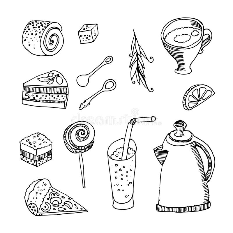 Ilustração desenhada mão Grupo de refeição diferente: copo, chá, bolo, ilustração do vetor