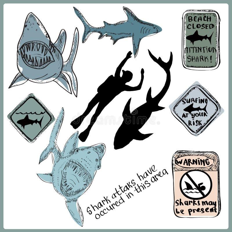 Ilustração desenhada mão Tubarões, mergulhadores ilustração stock