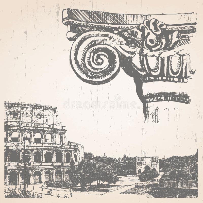 Ilustração desenhado à mão de Roma ilustração royalty free