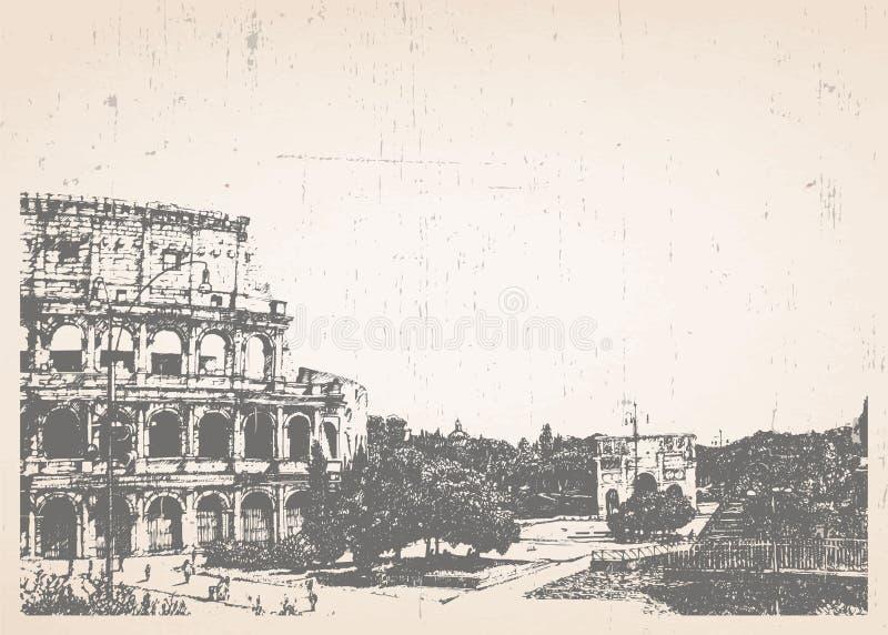Ilustração desenhado à mão de Roma coliseum ilustração stock