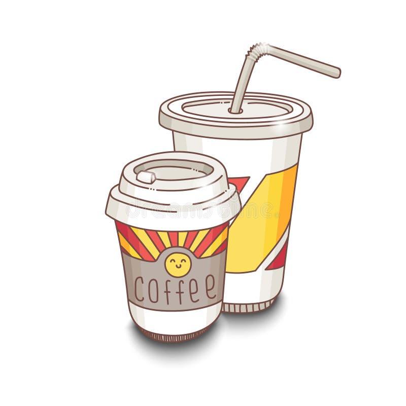 Ilustração desenhado à mão do fastfood do vetor bonito Café e copo da soda ilustração do vetor