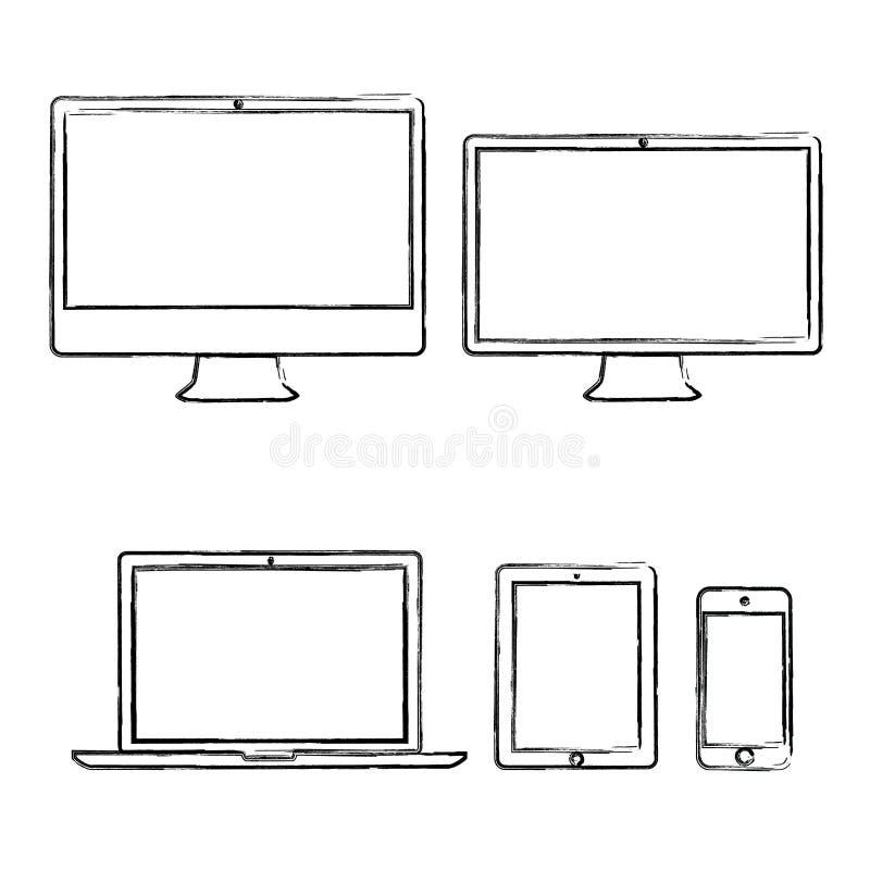 Ilustração desenhado à mão do vetor dos dispositivos electrónicos ilustração royalty free