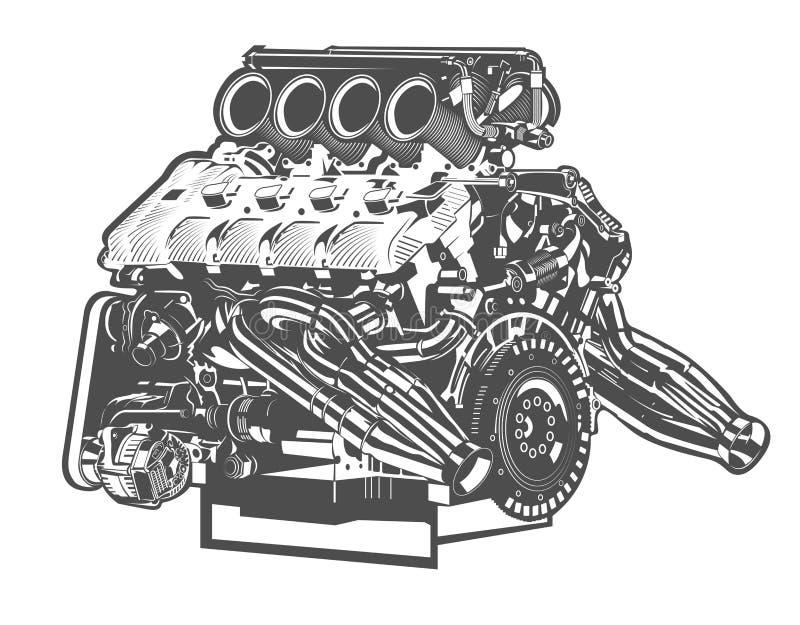 Ilustração detalhada alta do vetor do motor abstrato ilustração royalty free