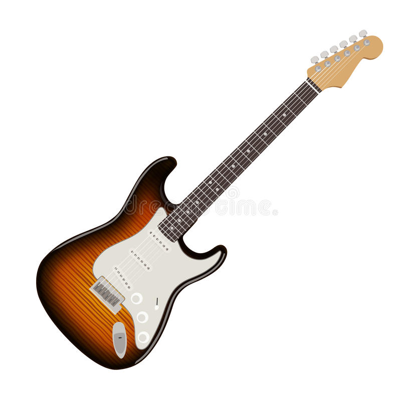 Ilustração detalhada da guitarra elétrica fotos de stock