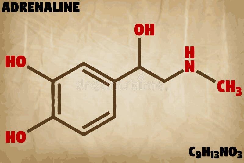 Ilustração detalhada da molécula da adrenalina ilustração royalty free