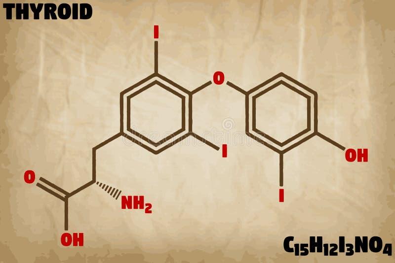 Ilustração detalhada da molécula do tiroide ilustração royalty free