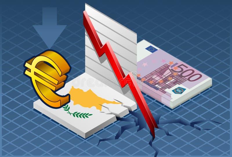 Crise isométrica de Chipre ilustração do vetor