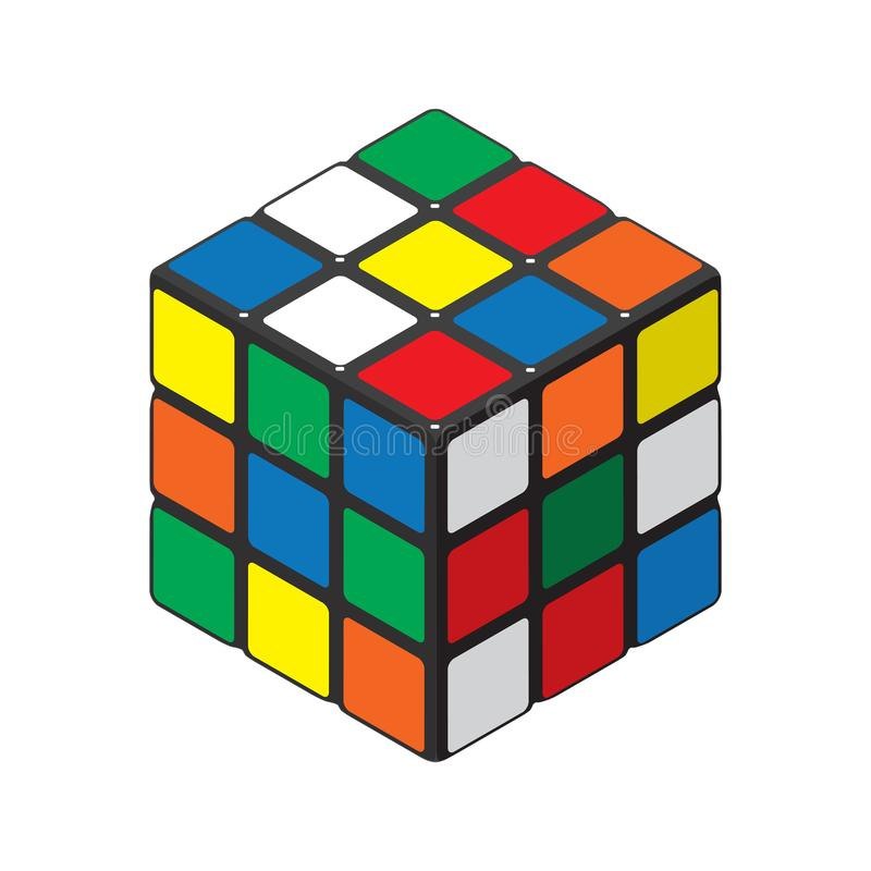 Ilustração detalhada do vetor de um enigma do cubo ilustração do vetor