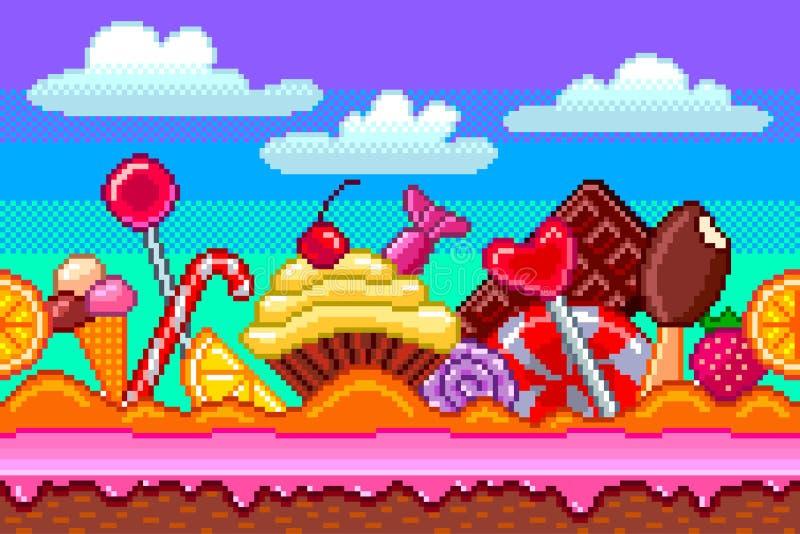 Ilustração detalhada do vetor do fundo dos doces da arte do pixel ilustração royalty free
